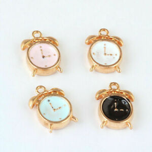 10pcs-3D-Cute-Enamel-Alarm-Clock-Charm-Pendant-15-10mm-Fit-DIY-Bracelet-Making