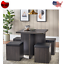modern 5-piece dexter dining set with storage ottoman reclaimed gray storage new