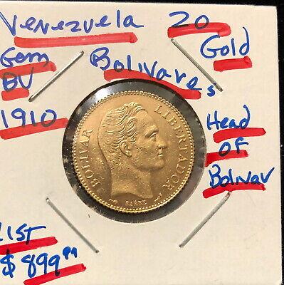 A VENEZUELA 1904 GEM BU 20 GOLD BOLIVARES Simon Bolivar-Coat of Arms .1867 agw