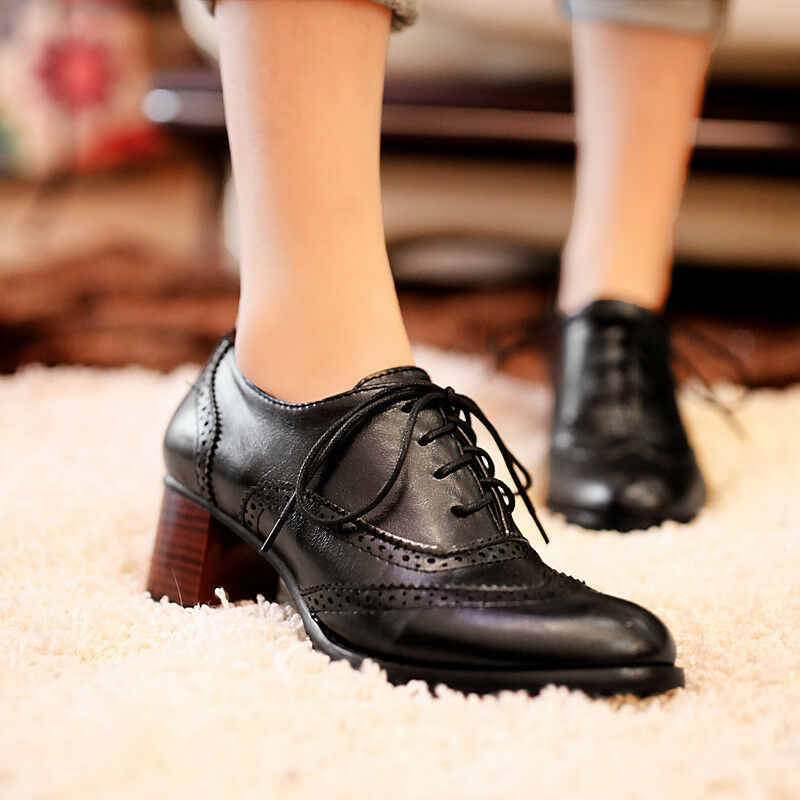 Vintage Women's Lace Up Block Mid Heels Wing Tip Brogue Oxfords Casual shoes