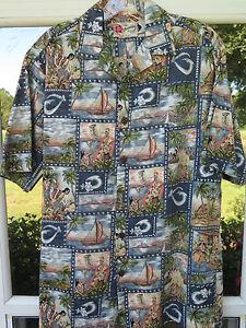 Hilo-Hattie-Mens-Hula-Girl-Floral-Volcano-Original-Hawaiian-Camp-Shirt-Small-USA