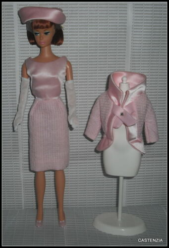 OUTFIT BARBIE VTG REPRO FASHION LUNCHEON PINK SATIN WOVEN DRESS HAT SHOES JACKET
