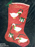 Vintage Bucilla Jumbo Christmas Stocking Kit Country Time Quilted 21 Goose