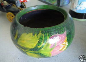 BIG-Vintage-Mexico-Art-Pottery-Pot-Flower-Design-LOOK