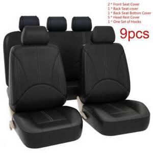 9Pcs-Black-Universal-Car-Seat-Cover-Leather-Cushion-5-Seats-Full-Protect-UK-New