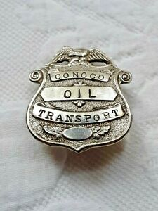 """Small 1 1/4"""" Vintage Conoco Oil Truck Driver Transport Badge Employee"""