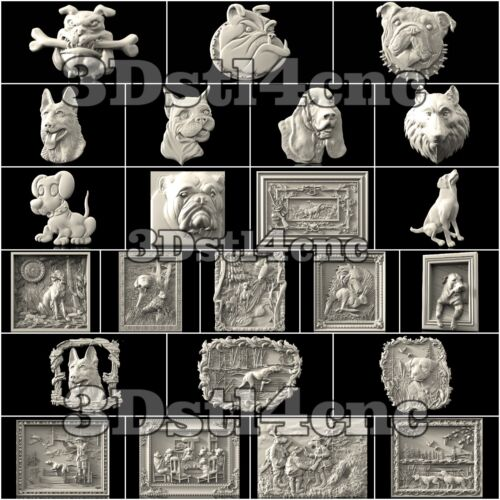 3D STL Models Dogs Panels set for CNC Router Carving Machine Artcam aspire 23