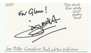 Jay Millar Signed 3x5 Index Card Autographed Signature Author Poet