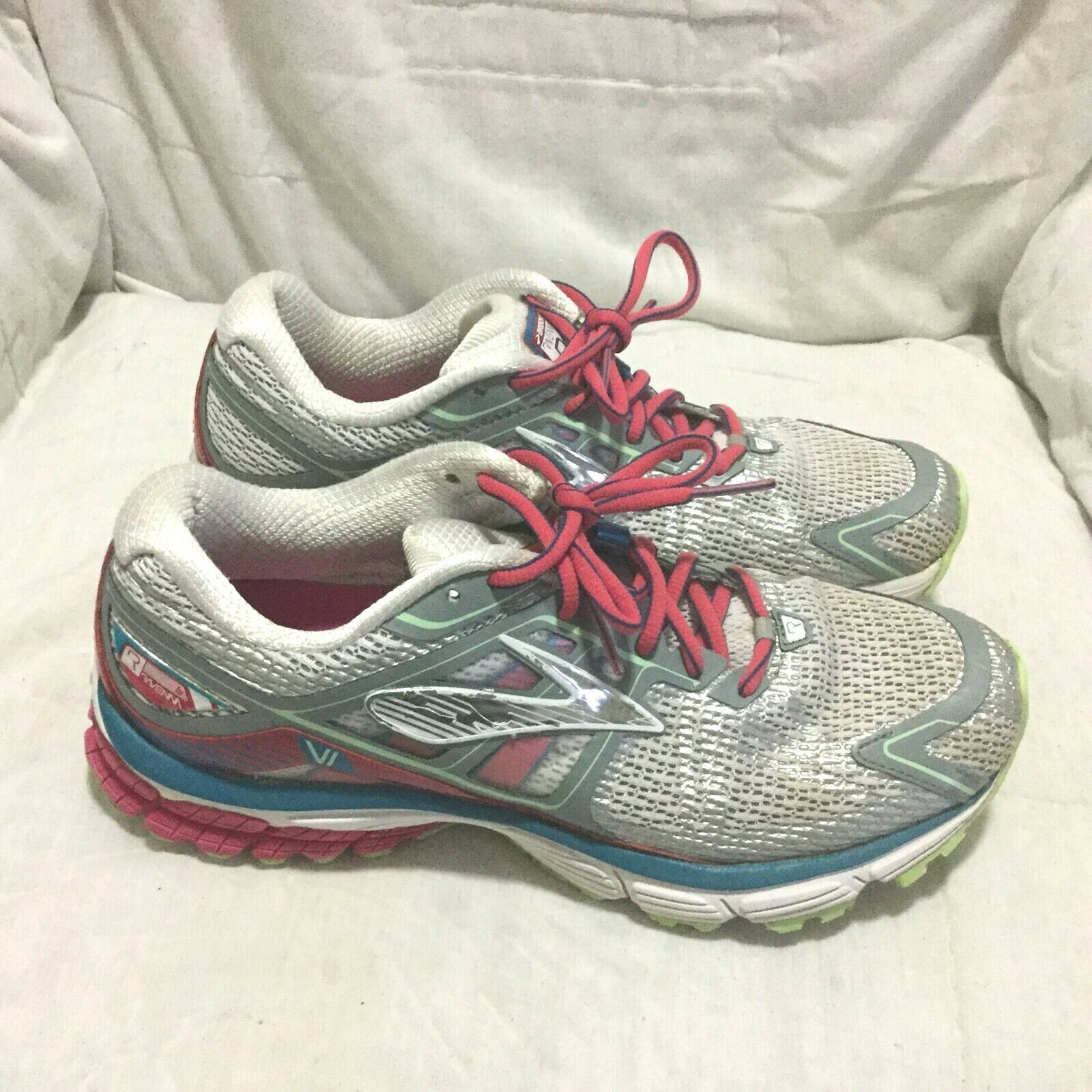 BROOKS RAVENNA RUNNING SHOES - RED WHITE blueE ( SIZE 9.5 ) WOMEN`S