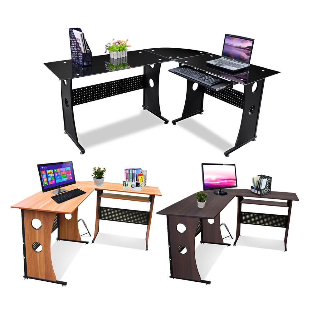 L Shape Designer Computer Table Home Study Office Furniture Corner Desk Black