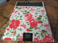 "Laura Ashley-Ramona-Vinyl flannel back tablecloth--Red/Pink/White-52"" x 70""--New"