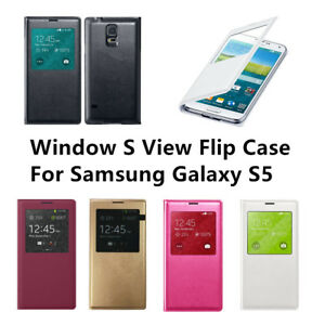 the best attitude 3158b f32b9 Details about Slim Light For Samsung Galaxy S5 Window S View Flip Cover  Folio Leather Case