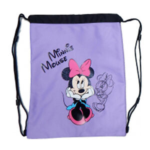 76d57a52f0d Image is loading MINNIE-MOUSE-Bag-backpack-drawstring-fabric-lilac-printed-