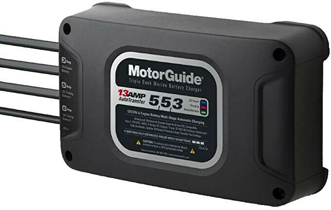 1 MotorGuide 313 Triple Bank 13A Battery Charger- 5/5/3 Amps-New/unused open box