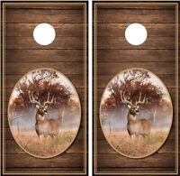 Whitetail Buck 2 Brown Wood Background Cornhole Board Decal Wrap Wraps