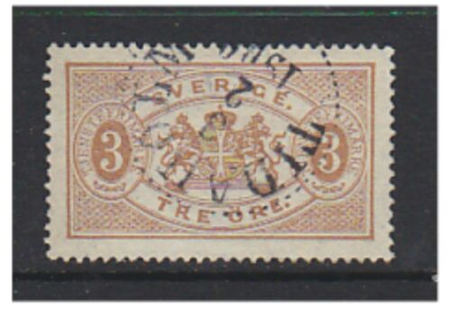 Sweden 1878, 3 ore YellowBrown Official Perf 14 FU SG O28c