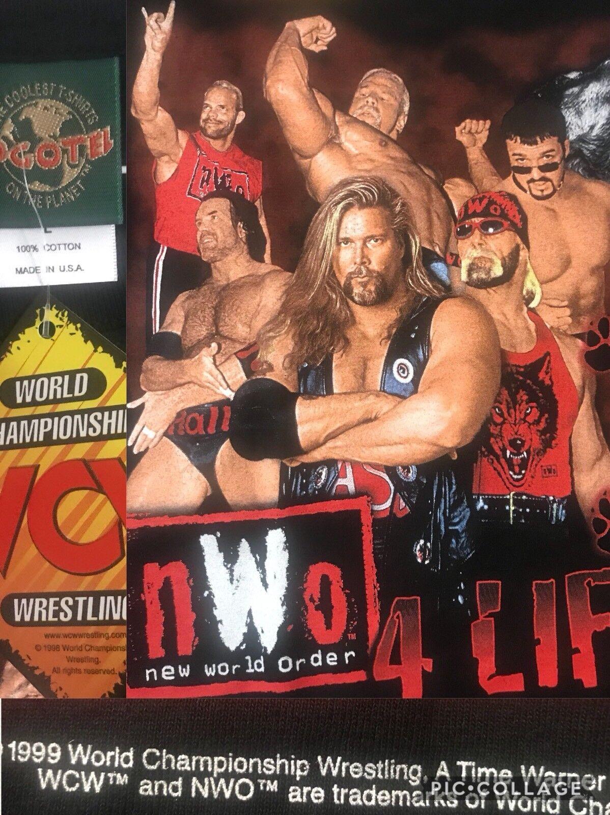 Très Bon État Vtg '99 Nwo Wcw Wolfpac Hogan Luger Hall Nash Bagwell Steiner XL