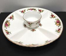 Royal Albert OLD COUNTRY ROSES Chip & Dip Appetizer Snack Platter Bowl Set w Tag