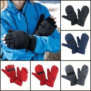 Convertible Gloves Glove Mitt Flip Mittens Mens Womens Winter Warm  Fingerless | eBay