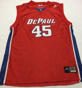 new concept edeee 5174d Details about 90s VTG DEPAUL BLUE DEMONS Basketball ADIDAS Jersey XL Shiny  University Red