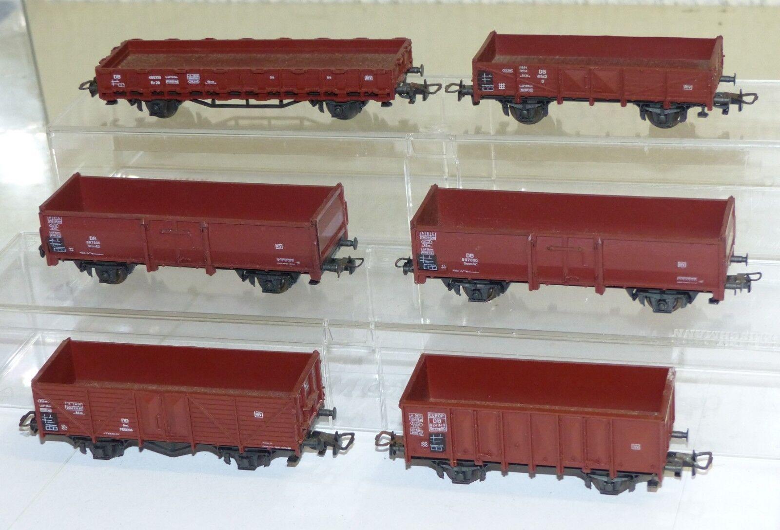 6 Roco Güterwagen  Om, Ommp50, Omm52, O, Rr20  H0 1 87