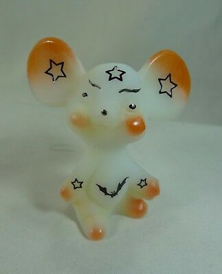 Fenton 3 Inch Opal Satin Airbrushed/Sand Carved W/Stars & Bats Halloween Mouse