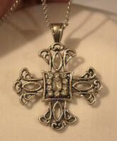 Filigree Maltese Cross Rectangular Rhinestone Inset Silvertone Pendant Necklace