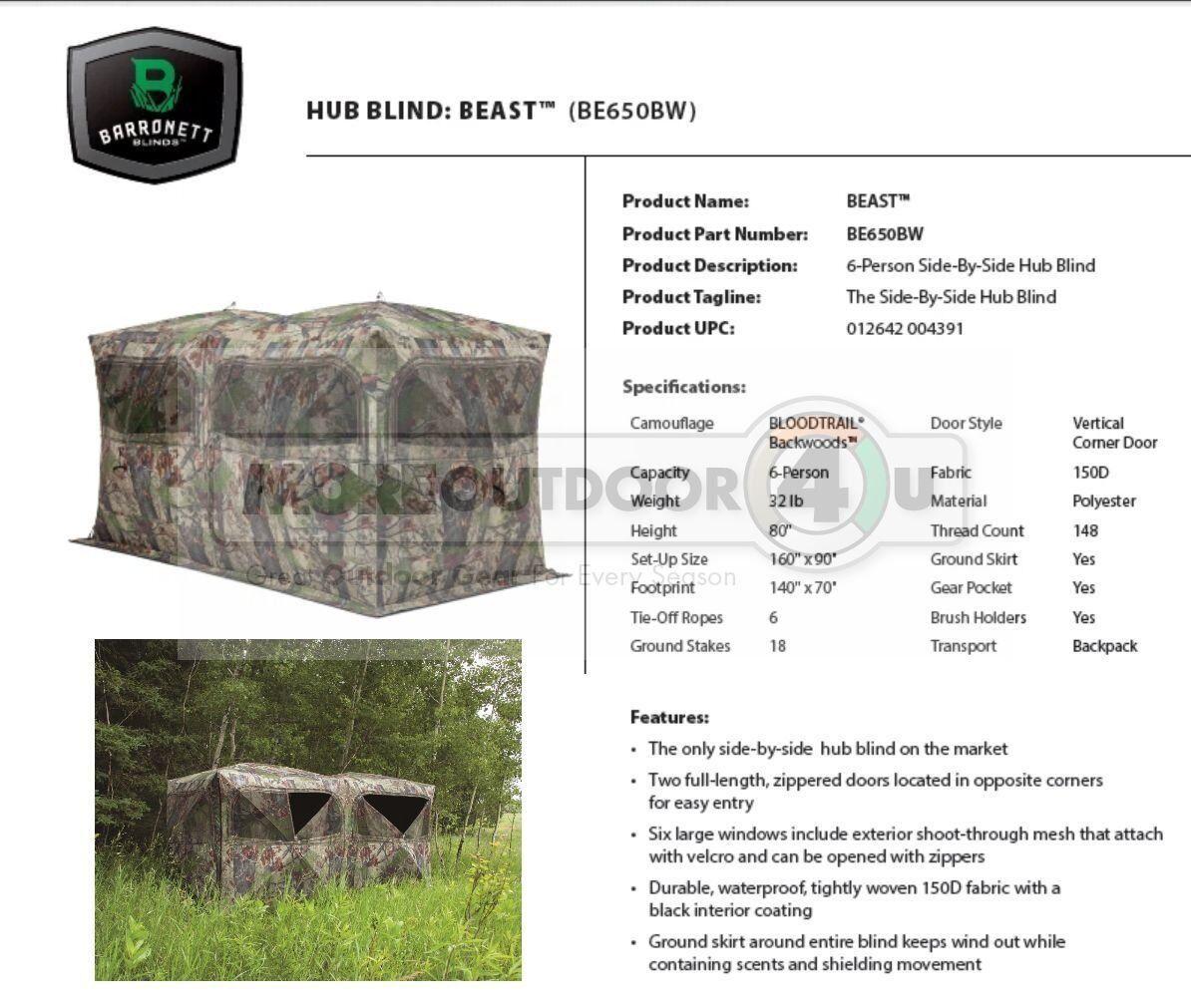 BE650BW Barronett Blinds la Besteia tierra caza ciego gran cazadores cabina ATV