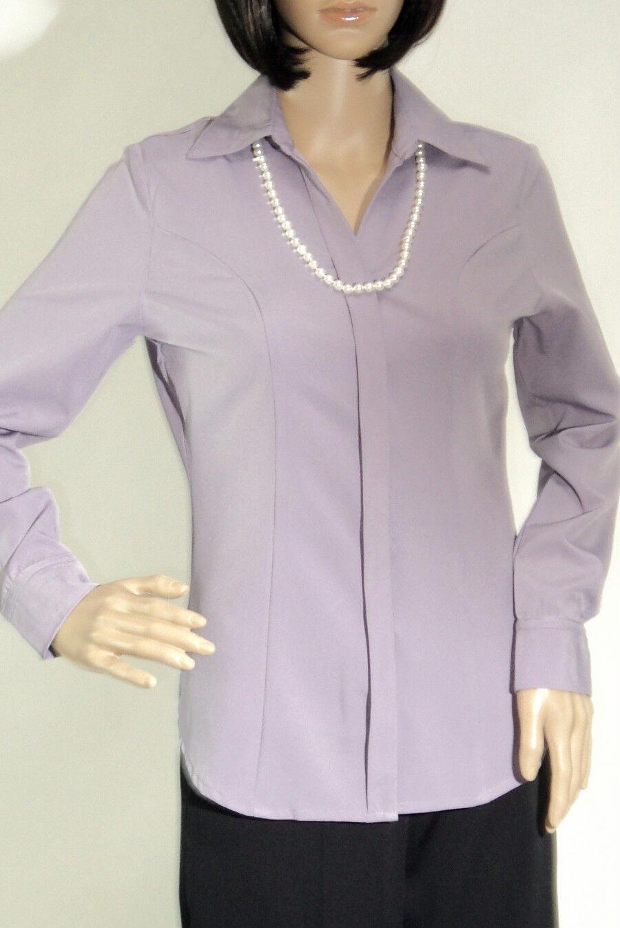 Ladies Solid purplec Long Sleeve Button Up Dress Shirt  Top  Blouse