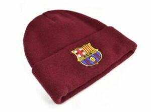 Oficial-FC-Barcelona-Puno-Tejido-Borgona-Gorro-Beanie-Invierno-Del-Club-Crest