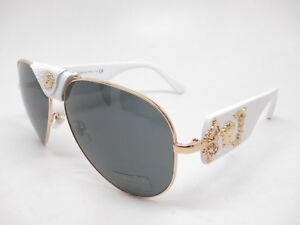 48498a7887 New Versace VE 2150Q 1341 87 Gold   White w Grey 2150-Q Leather ...