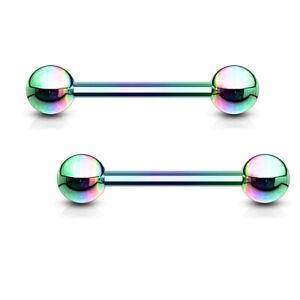 Nipple Ring Duo-Tone Striped Barbell Titanium IP 316L Surgical Pair