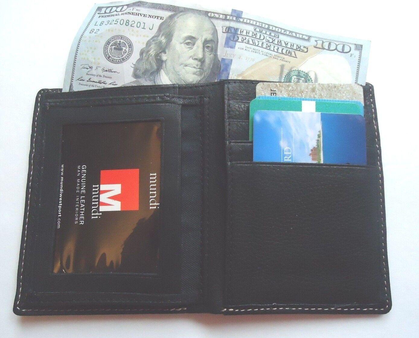 2 Fold Billfold Genuine Leather Wallet,Black,