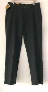 Wrangler-RIATA-Mens-Black-Flat-Front-Relaxed-Fit-100-Cotton-Pants-Size-34-x-32