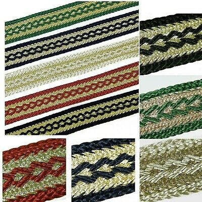 GIMP GOLD BRAID TRIM UPHOLSTERY 22MM WIDE SOLD BY THE METRE 5 COLOURS G1
