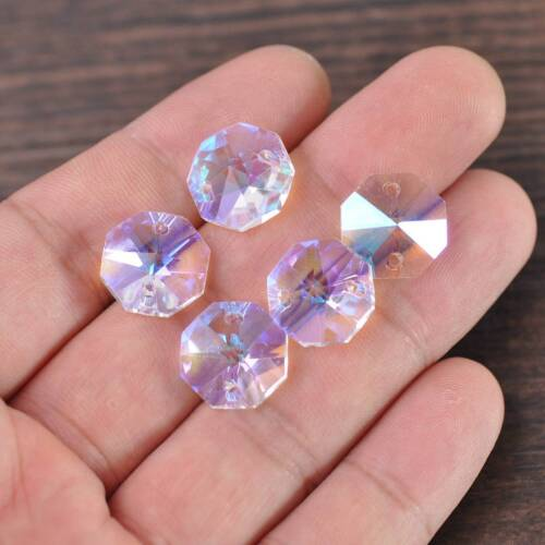 50pcs 14mm 2 Holes Octagon Crystal Glass Prism Decoration Beads Lots Clear AB
