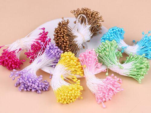 280 piezas de Efecto Perla Artificial Flor Estambre Doble Cabezas De Algodón Cadena Redonda