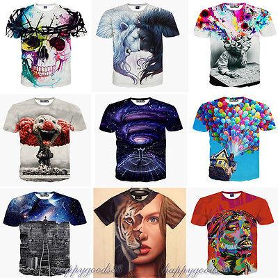 2015 Fashion 3D print Funny Popular Women Men T Shirt Short sleeve Tee Top S-2XL
