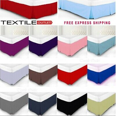 New Luxury Plain Polycotton Box Pleated Valance Sheet Size /& Colour Choice