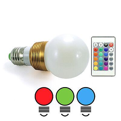 E27 LED RGB Birne Bunt Lampe IR Fernbedienung Farbwechsel dimmbar 230V *j12