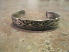 EARLY OLD Fred Harvey Era Navajo Silver WHIRLING LOG Bracelet with Horse Dogs