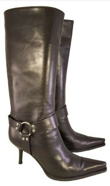 STUNNING SERGIO ROSSI WOMAN HARNESS  BOOTS BLACK LEATHER EUR 39.5 US 9