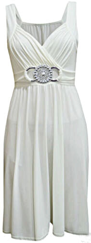 1s Womens Ladies Short Buckle Evening Midi Bridesmaid Dress Plus Size 8-26