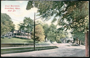 GREENFIELD-MA-Grout-Residence-High-Street-Antique-Flag-Cancel-Postcard-Vtg-Old