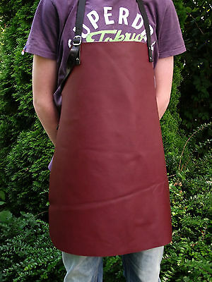 TOP Leather apron, Work apron, Waiter apron in red-brown braun, brick red