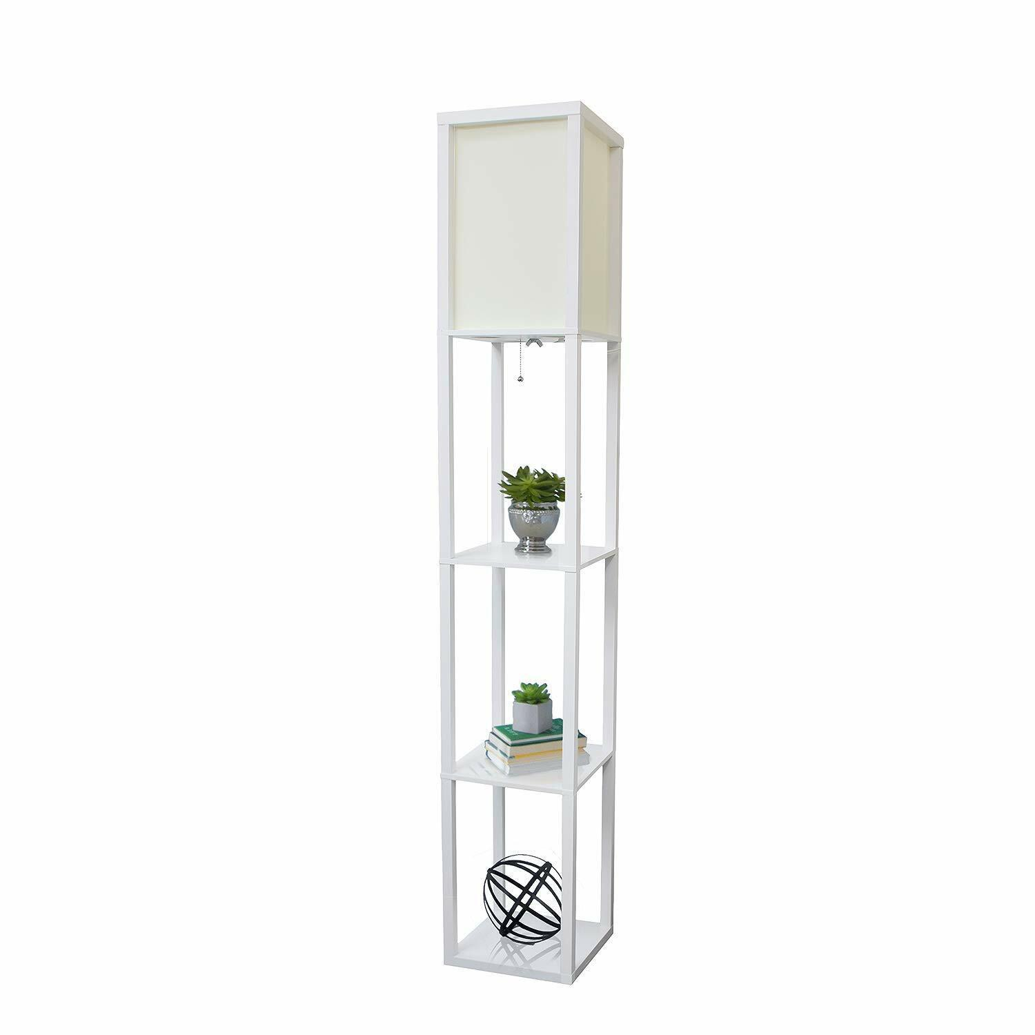 Floor Lamp Etagere Organizer Storage Shelf with Linen Shade Great for Hime Weiß