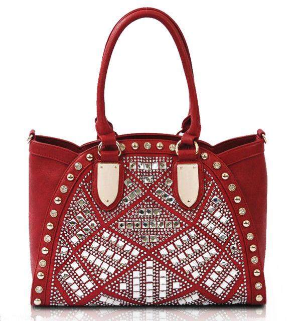 New Vieta® Sparkling Multi Jeweled Tote w/ Crossbody Strap - Red