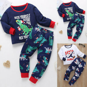 2PCS-Toddler-Kids-Baby-Boys-Christmas-Dinosaur-Long-Sleeve-Tops-Pants-Pajama-Set