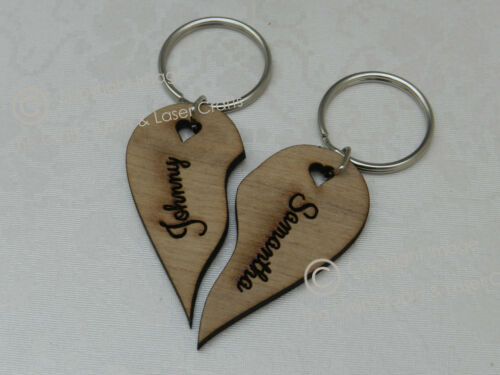 Personalised Valentine Love Joint//Split Heart Keyrings Wedding,