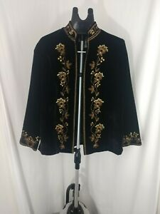 Drapers-amp-Damon-039-s-Crushed-Velvet-Kimono-collar-w-beading-and-embroidery-jacket